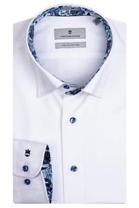 Thomas Maine Bergamo Hidden Button Down Two Ply Twill Uni Bold Contrast Shirt White-Blue