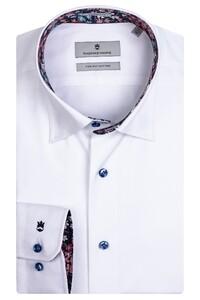 Thomas Maine Bergamo Hidden Button Down Two Ply Twill Uni Bold Contrast Shirt White-Pink