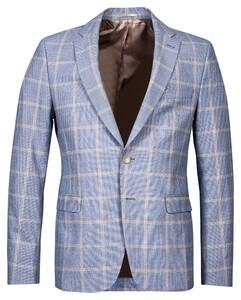 Thomas Maine Blazer Marco Seersucker Check Fabric by Leomaster Colbert Navy-Wit-Zand