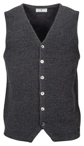 Thomas Maine Buttons Front Double Layer Structure Knit Gilet Anthra