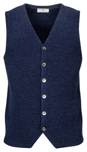 Thomas Maine Buttons Front Double Layer Structure Knit Gilet Jeans Blauw