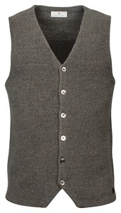 Thomas Maine Buttons Front Double Layer Structure Knit Gilet Midden Groen