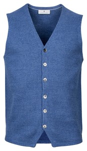 Thomas Maine Buttons Front Structure Knit Gilet Midden Blauw