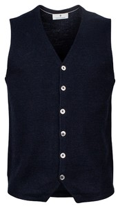 Thomas Maine Buttons Front Structure Knit Gilet Navy