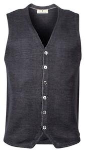 Thomas Maine Buttons Milano Knit Structure Merino Gilet Anthra Melange