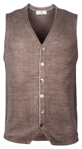 Thomas Maine Buttons Milano Knit Structure Merino Gilet Beige