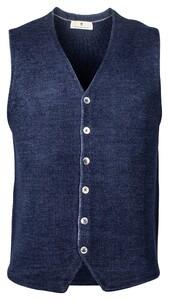 Thomas Maine Buttons Milano Knit Structure Merino Gilet Denim Blue