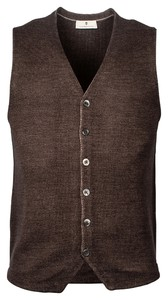 Thomas Maine Buttons Milano Knit Structure Merino Gilet Donker Bruin