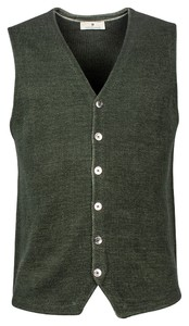 Thomas Maine Buttons Milano Knit Structure Merino Gilet Donker Groen