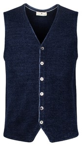 Thomas Maine Buttons Milano Knit Structure Merino Gilet Navy