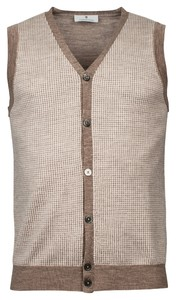 Thomas Maine Buttons Single Knit Gilet Tabac