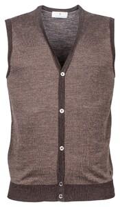 Thomas Maine Buttons Single Knit Herringbone Jacquard Gilet Donker Bruin
