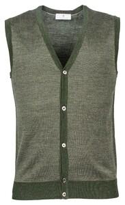Thomas Maine Buttons Single Knit Herringbone Jacquard Gilet Donker Groen