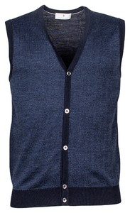 Thomas Maine Buttons Single Knit Herringbone Jacquard Gilet Navy