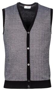 Thomas Maine Buttons Single Knit Herringbone Jacquard Gilet Zwart