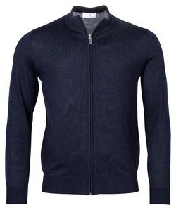Thomas Maine Cardigan Zip Merino Single Knit Vest Navy