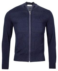 Thomas Maine Cardigan Zip Single Knit Block Structure Combed Cotton Vest Navy
