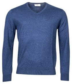 Thomas Maine Cashmere Cotton V-Neck Pullover Trui Dark Denim