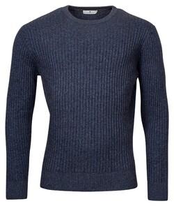 Thomas Maine Crew Neck All Over Rib Knit Trui Jeans Blauw