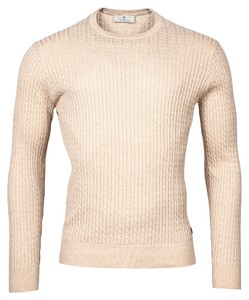 Thomas Maine Crew Neck Pullover Cable Knit Structure Trui Beige