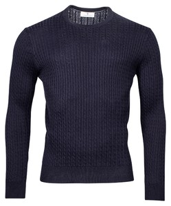 Thomas Maine Crew Neck Pullover Cable Knit Structure Trui Navy