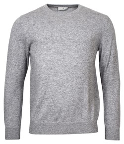 Thomas Maine Crew Neck Single Knit Cashmere Trui Mid Grey Melange