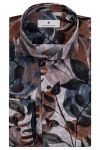 Thomas Maine Cutaway Abstract Pattern Overhemd Grijs-Bruin