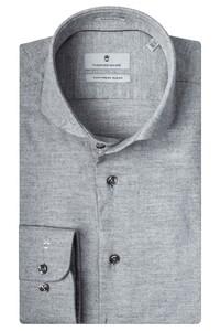 Thomas Maine Cutaway Cotton Cashmere Twill Overhemd Licht Grijs