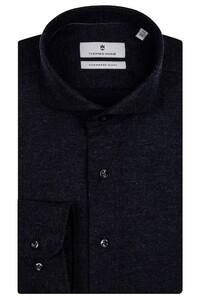 Thomas Maine Cutaway Cotton Cashmere Twill Overhemd Zwart-Navy