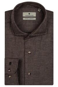 Thomas Maine Herringbone Cotton Overhemd Bruin