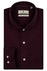 Thomas Maine Herringbone Cotton Overhemd Burgundy