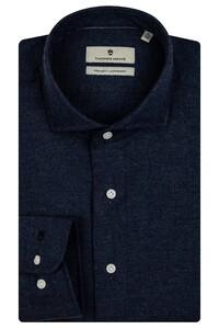 Thomas Maine Herringbone Cotton Overhemd Navy
