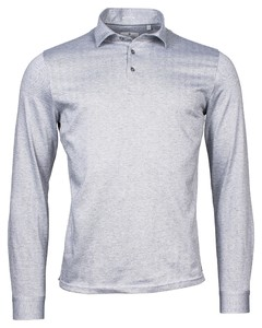 Thomas Maine Herringbone Jersey Melange by Albini Poloshirt Mid Grey