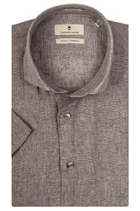 Thomas Maine Linnen Melange Modern Kent Overhemd Grijs