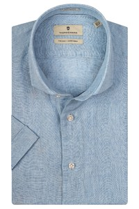 Thomas Maine Linnen Melange Modern Kent Overhemd Licht Blauw