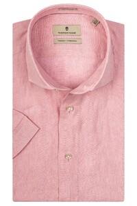 Thomas Maine Linnen Melange Modern Kent Overhemd Licht Roze