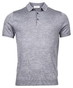 Thomas Maine Merino Buttons Uni Single Knit Polo Mid Grey Melange