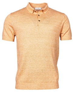 Thomas Maine Merino Linnen Polo Collar Knit Polo Goud Oranje