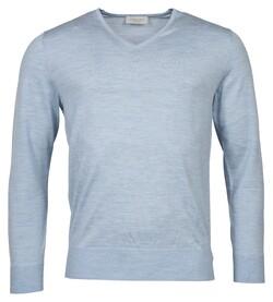 Thomas Maine Merino V-Neck Single Knit Pullover Light Blue