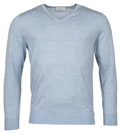Thomas Maine Merino V-Neck Single Knit Trui Licht Blauw
