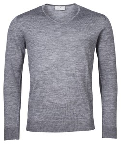 Thomas Maine Merino V-Neck Single Knit Trui Mid Grey Melange