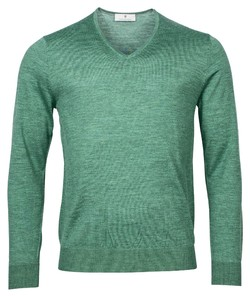 Thomas Maine Merino V-Neck Single Knit Trui Midden Groen