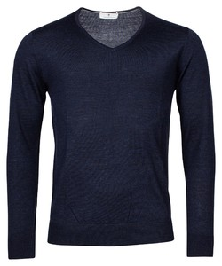 Thomas Maine Merino V-Neck Single Knit Trui Navy