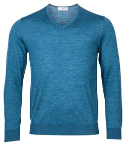 Thomas Maine Merino V-Neck Single Knit Trui Turquoise