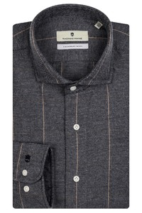 Thomas Maine Modern Kent Cotton Cashmere Overhemd Donker Grijs