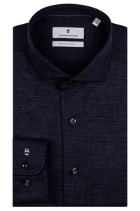 Thomas Maine Modern Kent Fine Pied de Poule Merino Overhemd Navy