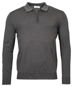 Thomas Maine Polo Collar Zip Single Knit Trui Donker Grijs