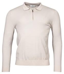 Thomas Maine Polo Collar Zip Single Knit Trui Off White