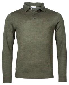 Thomas Maine Polo Pullover Single Knit Trui Donker Groen