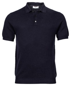 Thomas Maine Polo Uni All Over Structure Knit Polo Navy